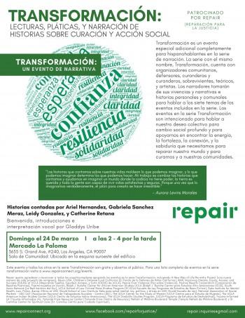 transformation event flyer in Spanish